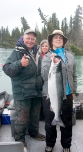Becky holding Silver Salmon